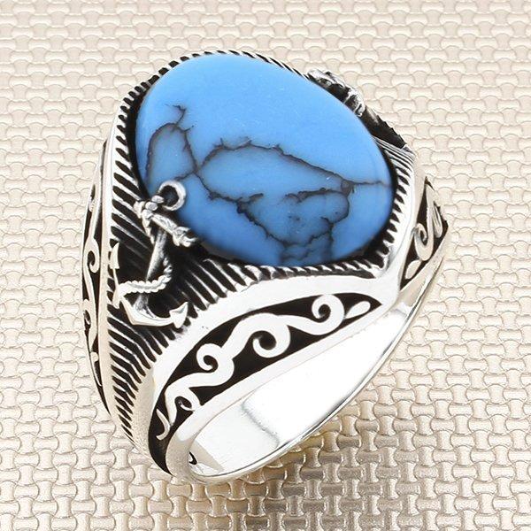 Clusterringe oxidierte, ovalen blauen rohen türkisfarbenen Steinmänner Silber Ring mit Ankermotiv in der Türkei Solid 925 Sterling
