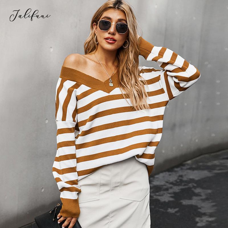 سترة الخريف الشتاء الأزياء فضفاض فضفاض براون مخطط الخامس الرقبة محبوك البلوز البلوز البلوزات قمم خريف النساء الملابس 210415