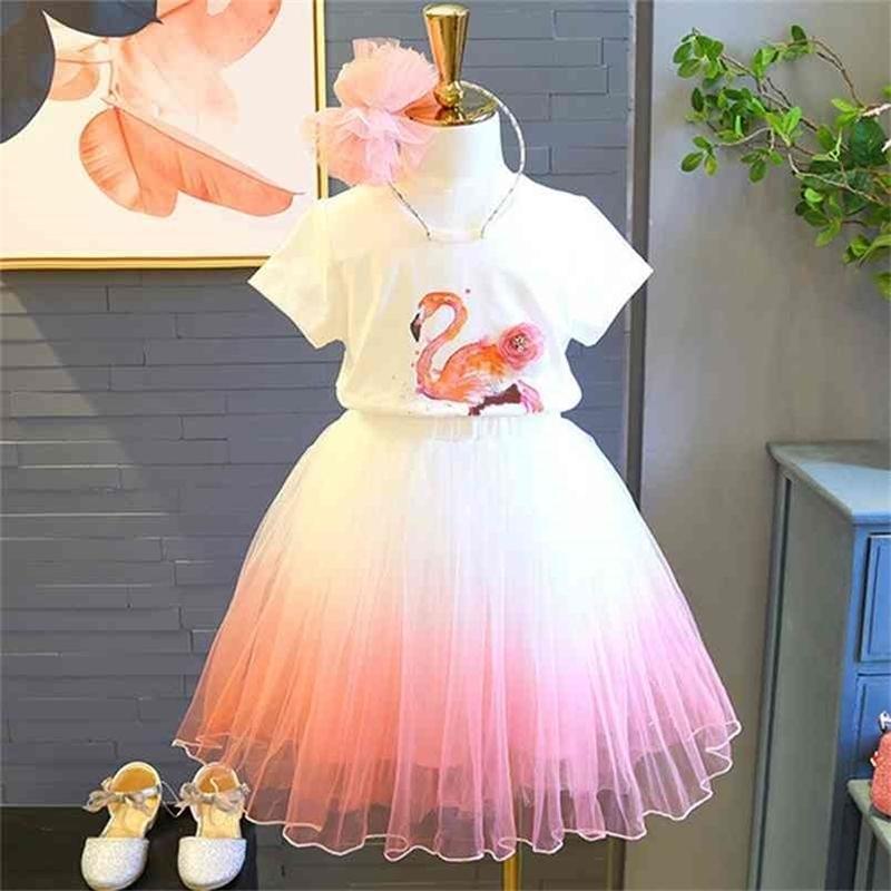 Juegos de ropa de niñas de verano elegante princesa niña animal camiseta + vestido de gasa 2pcs traje ropa para niños niños 210625
