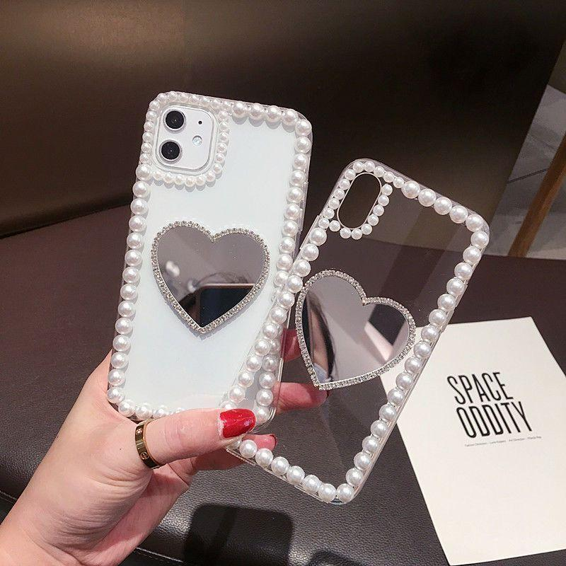 Soft Silicone Lady Mirror Cases for iPhone 12 11 ProMAX X XR XS 7 8plus Case Lovely Tassel Pearl Tpu Cover on 12mini
