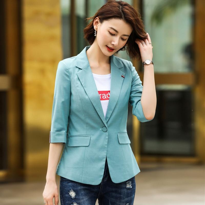 Spring Fall Women Blazer And Jackets Green Office Ladies Work Wear Female Clothes Half Sleeve Women's Suits & Blazers