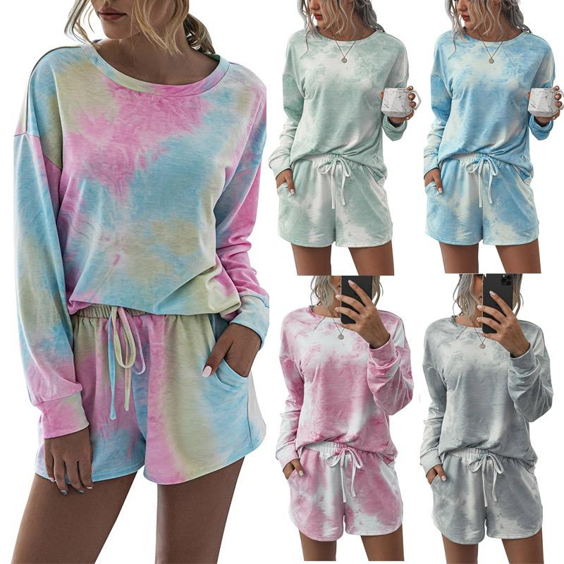 Women's Two Piece Pants Tracksuits Short Sleeve Tops Tees Shorts 2PCS Tie Dye Home Suits Clothing Females Comfortable Sets Loose Size S-2XL