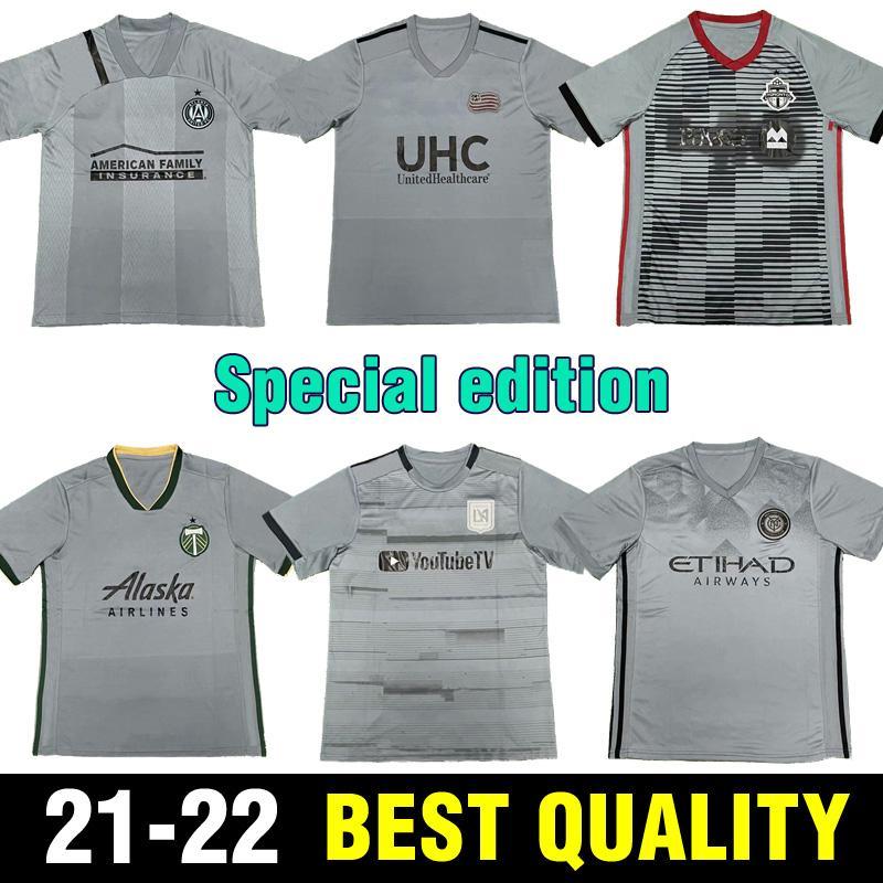 8 spezielle Blackout Fussball Jersey Team Kits Black Player für Wechsel BPC Limited Edition Grau Fußball Shirts Toronto Atlanta Portland MLS 21 22