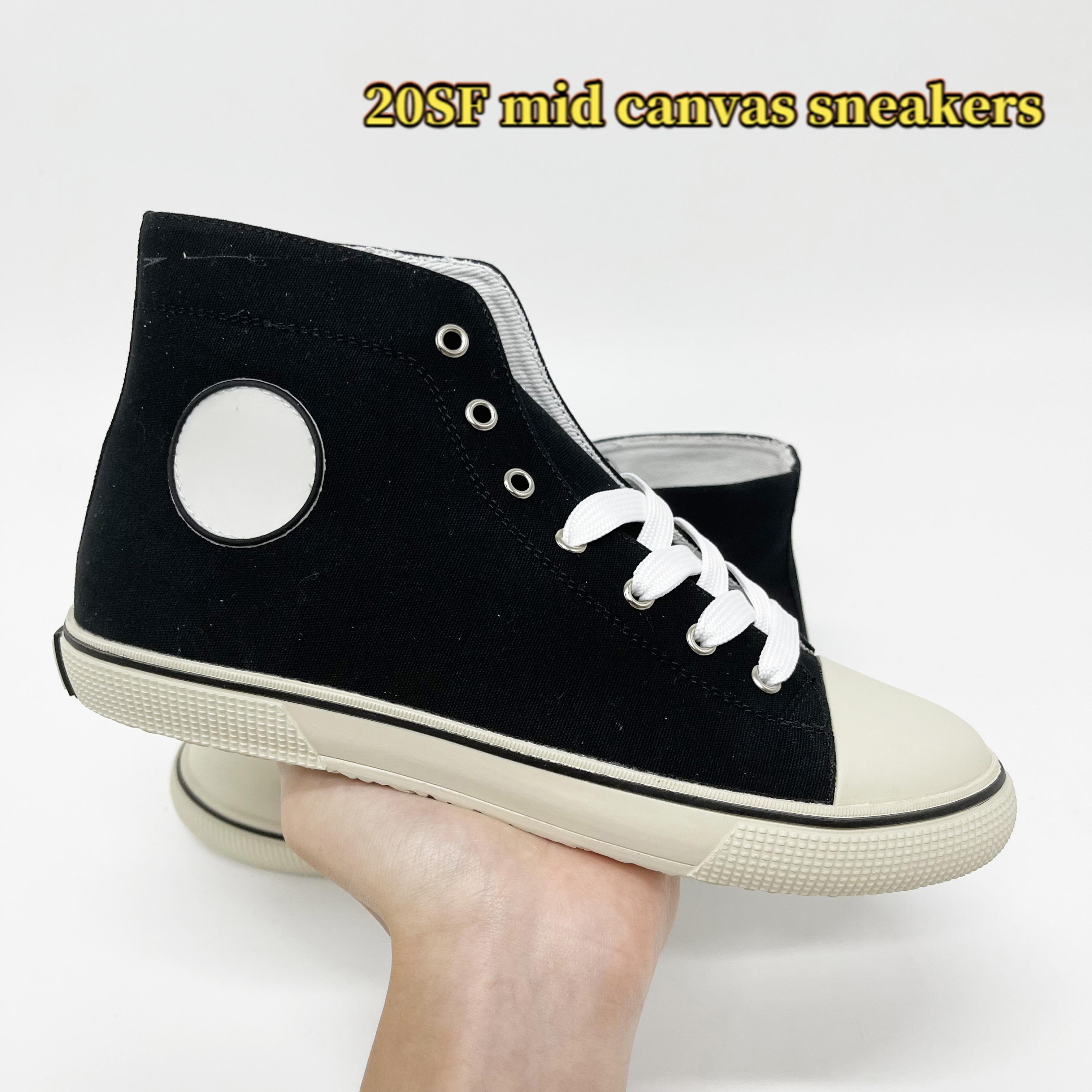 2021 TOP 20SF MID Toile Sneakers Femmes Chaussures de course Noir Blanc Blanc Jaune Formateurs Femmes Respirants Taille 35-40
