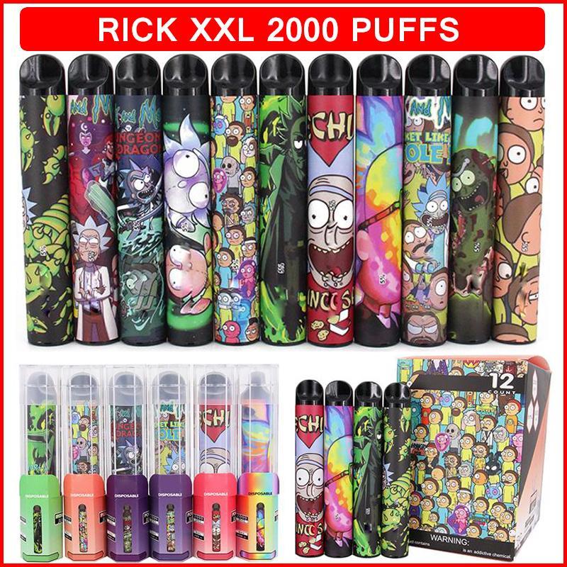 Rick XXL 2000Puffs 일회용 vape 디바이스 전원 배터리 프리 쿼리 6ml 포드 카트리지 증기 전자 담배 기화기 펜