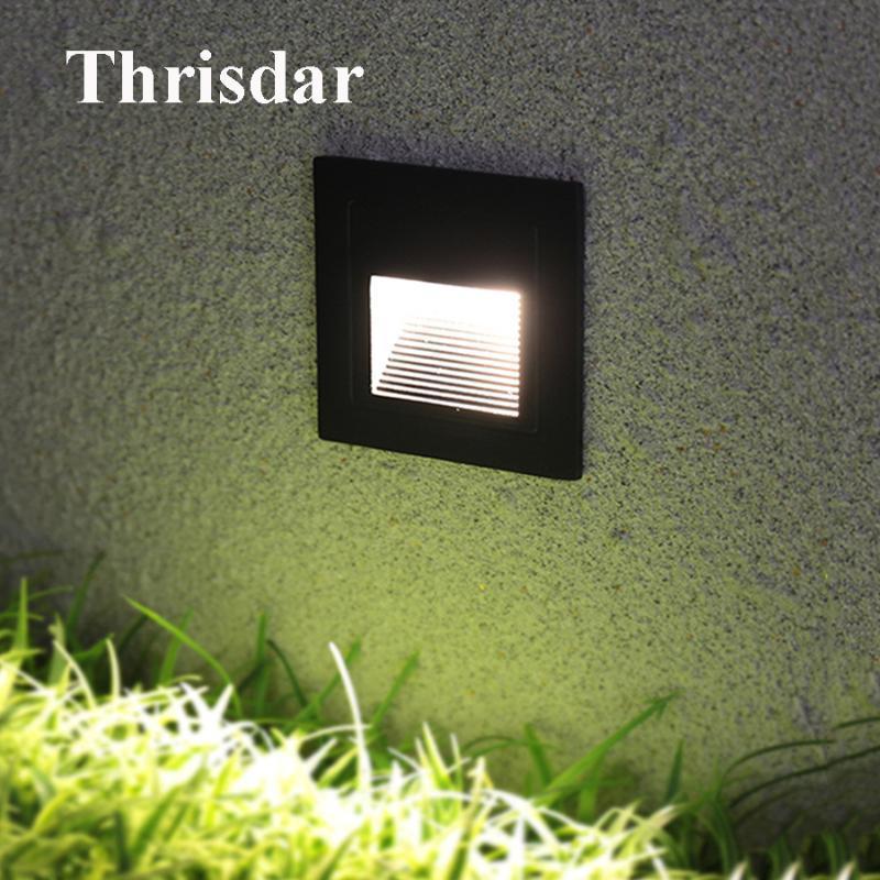 Thrisdar 3W 야외 리 세스 된 LED 단계 벽 빛 방수 풋 라이트 계단 로비 코너 경로 램프
