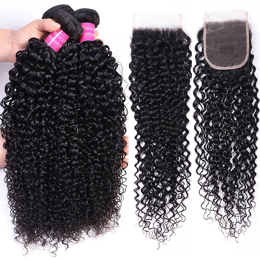 Wholesale Price 10A Brazilian Curly 3 Bundles with 4*4 Lace Closure Peruvian Malaysian Indian Virgin Human hair Products Natural 1B
