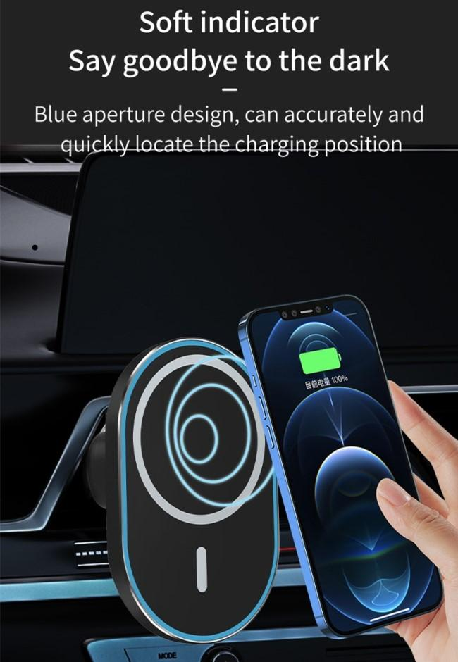 Min.1pcs Innovative Design Portable Wireless Charger 15w Quick Charge Car Stand Mount Strong Magnetic Smart Phone Holder