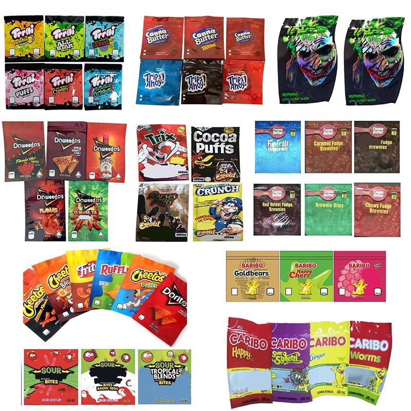 TROLLI TRRLLI TRIPS DOWEEDOS MEDIBLES CHEETOS GENERAL SOUR BROWNIE BITES JOKER CARIBO WORMS MILES Baribo Bags Resealable Edibles Empty Mylar Packaging