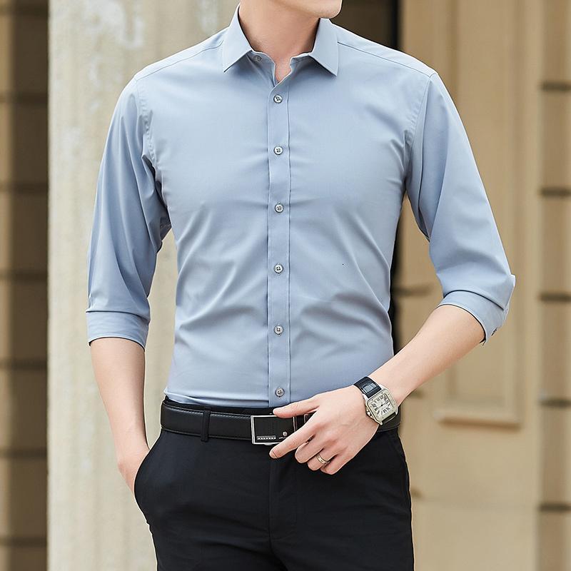 2020 camisa de manga larga de hombre nuevo Hombre Jacquard Color Sólido Marca Vestido de negocios Camisas Casas comerciales Casual Ropa para Hombre Nm09