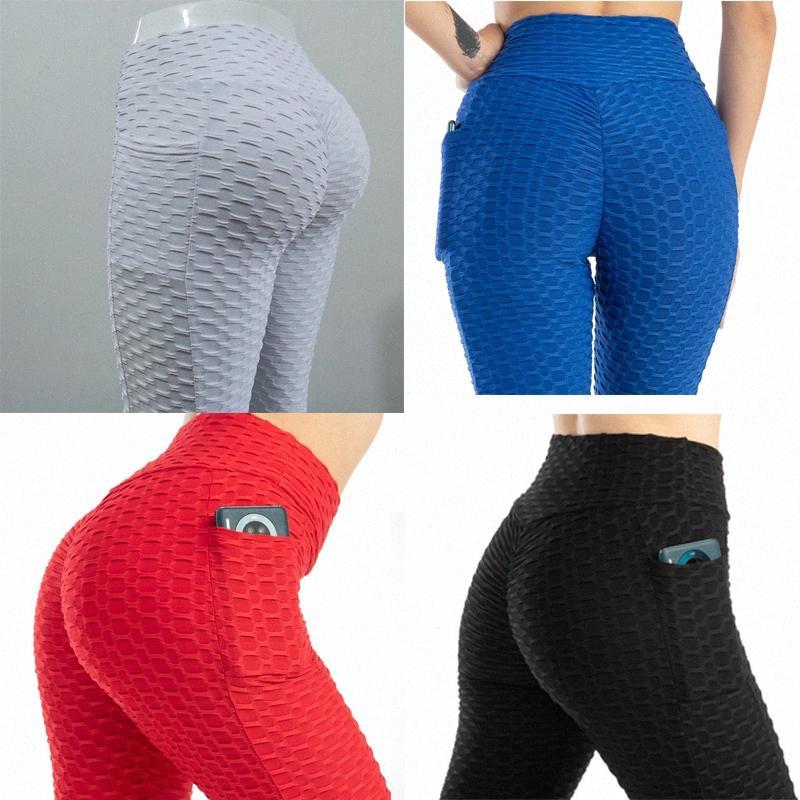 Yogasports 여성의 높은 허리 요가 버블 바지 엉덩이 리프트 레깅스 포켓이있는 배가 조절 슬리밍 Textured Booty Running Workout V0D7 #