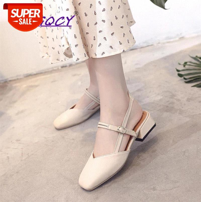PU Leather Mid heels Beige pumps women shoes 2019 Summer Fashion Square Toe Buckle Strap Casual sandals #Ru2N