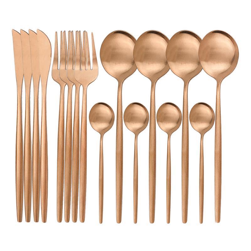 Yemek Setleri 16 adet Gül Set Altın Çatal 304 Paslanmaz Çelik Sofra Bıçak Çatal Kaşık Sofra Takımı Mutfak Mat Silverware