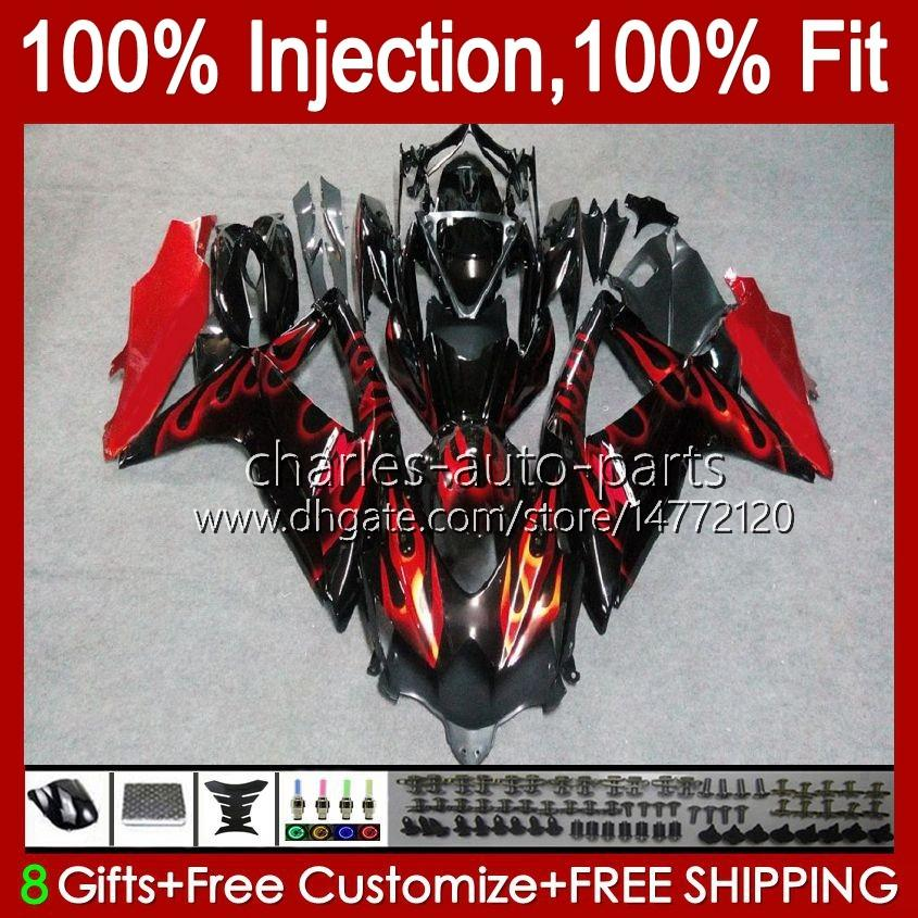Injectievorm voor Suzuki GSXR600 K8 GSX-R750 GSXR-600 GSXR-750 GSXR750 Carrosserie 9HC.11 GSX-R600 2008 2009 2010 GSXR 600 750 CC 600CC 750CC BLK 08 09 10 Verkrijgende rode vlammen
