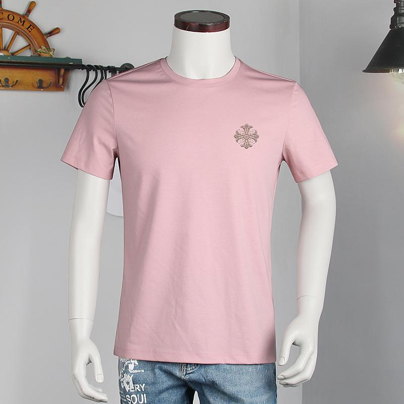 Factory new better drill half 2021 summer short sleeve mercerized cotton loose middle aged men's T-shirt