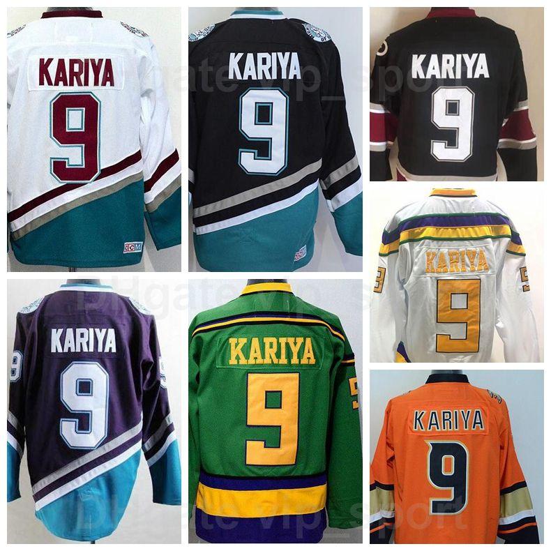 Anaheim Enten Männer 9 Paul Kariya Jersey Eishockey Paul Kariya Vinatge Trikots Günstige Nähte Mighty Lila Orange Weiß Schwarz