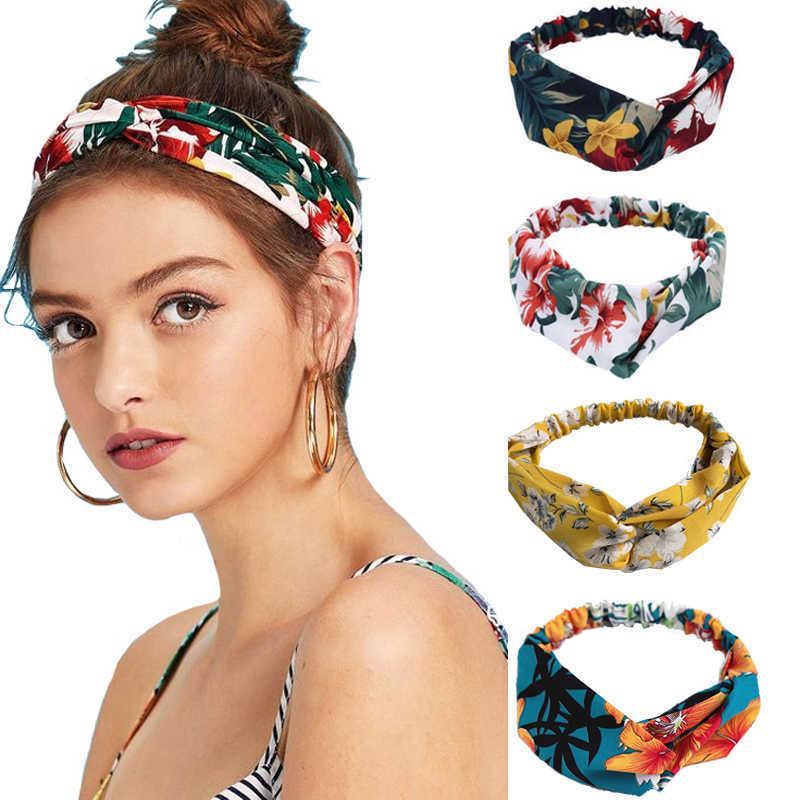 Nova Moda Mulheres Headband Imprimir Plantas Flores Faixa de Cabelo Cruz Cruz Turbante Bandagem Vintage Cabeça Do Vintage Acessórios Y0723