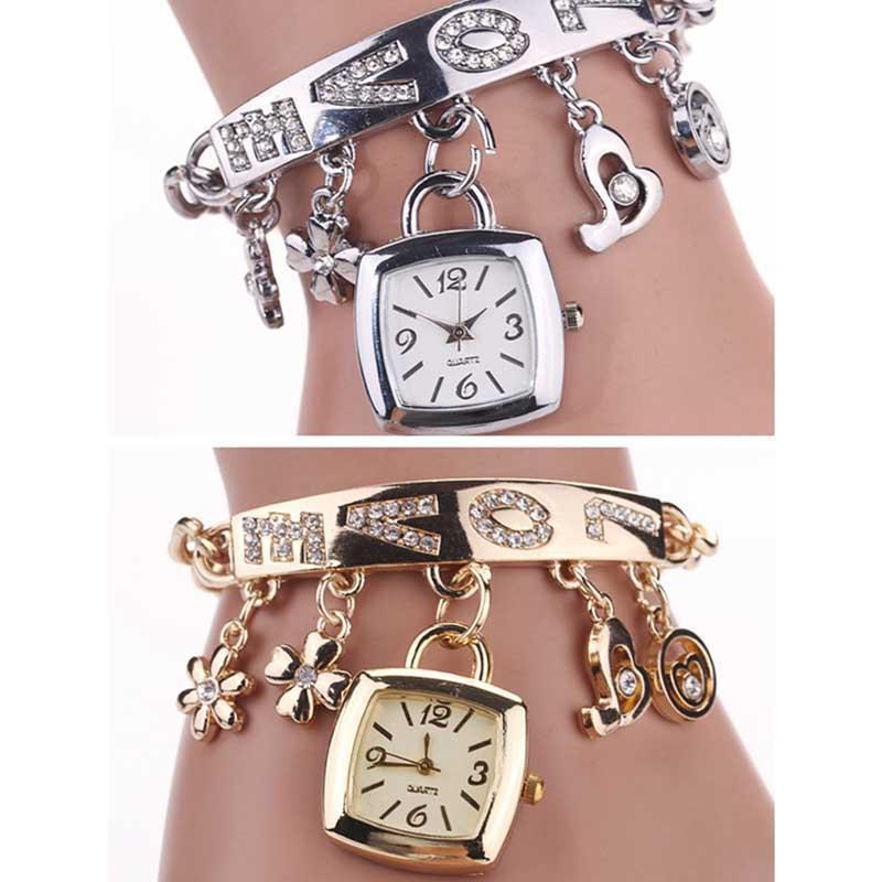 Charm Bracelets Women Trendy Bracelet Special LOVE Pendant WristWatch Flowers Fashion Rhinestone Ladies Dress Quartz Watch Clock Girls Gift