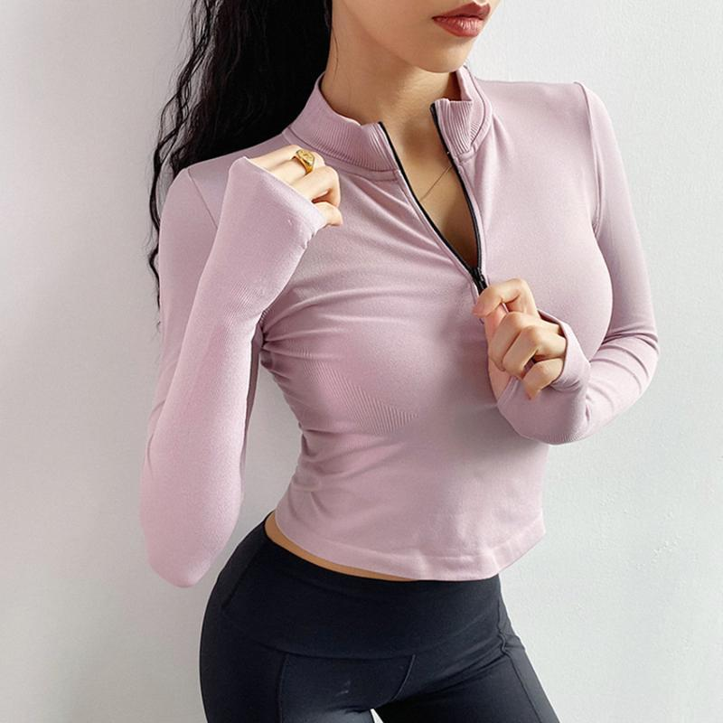 Gym Clothing Seamless Sport Jacket For Women Long Sleeve Sports Wear Workout Half Zip Yoga Top Stretchy Tumbhole Fitness Jersey