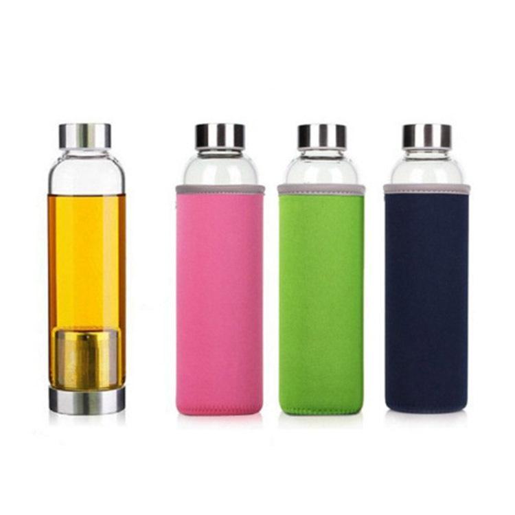 550 мл Стеклянная бутылка для воды Тумблер BPA Бесплатный высокотемпературный спортивный спорт с чайным фильтром инфузора нейлоновый рукав
