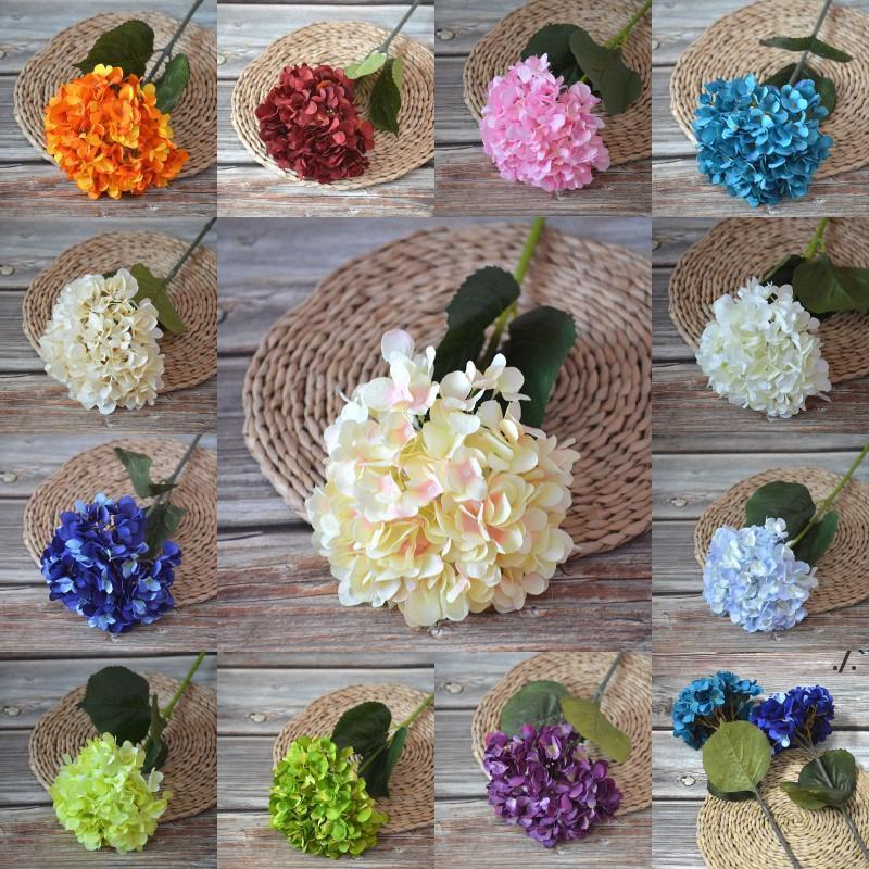 50 cm single stelo ortensia fiore bianco rosa blu simulazione ortensie per la festa di nozze fai da te decorazione della casa AHA4619