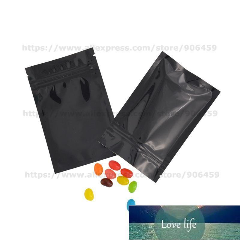 100 stücke Schwarz Metallisierte Reißverschluss Taschen Food Beutel Food Aufbewahrungstaschen, Schwarz Kunststoff Aluminiumfolie Reißverschluss Taschen