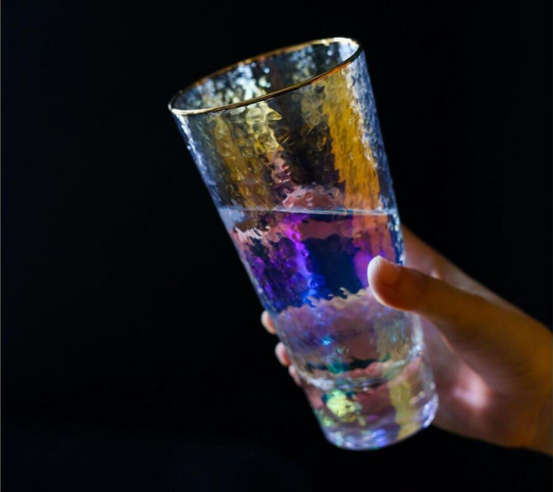 Gráficos de ojos de martillo de glaseado de oro vidrieras de vidrio martillo-ojos vino tazas de vino jugo de frutas Copa de catering