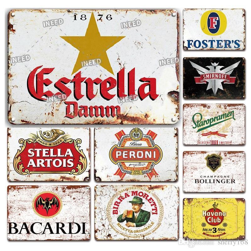 2021 Vintage Beer Brand Poster Métal Tin Signe Européenne Rétro Accueil Bar Décoration Peinture à repasser Personnalisé Pub Club Decor Industrial 20x30