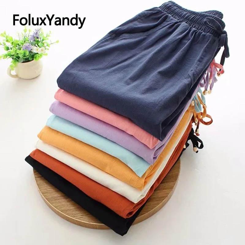 Farben Frauen Sommer Hosen Dünne Hosen Plus Größe Baumwolle und Leinen Stretch Casual