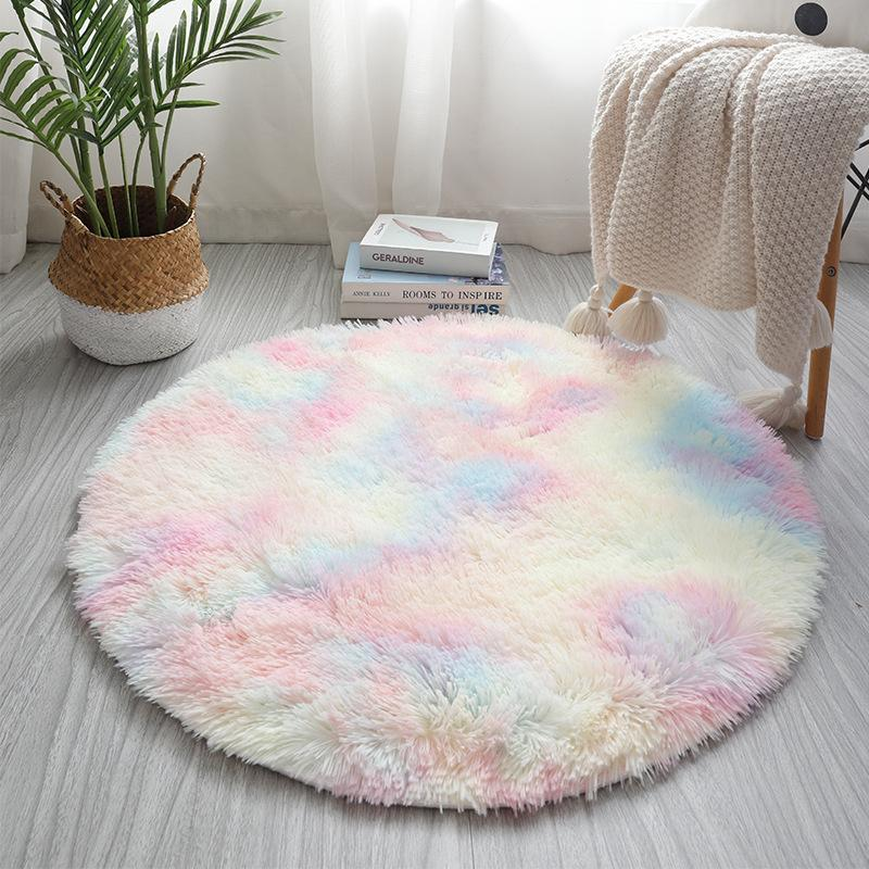 Nordic Rainbow Tie-dyed Plush Carpet Round Soft Fluffy Rug Living Room Non Slip Rugs Floor Carpets Home Decor