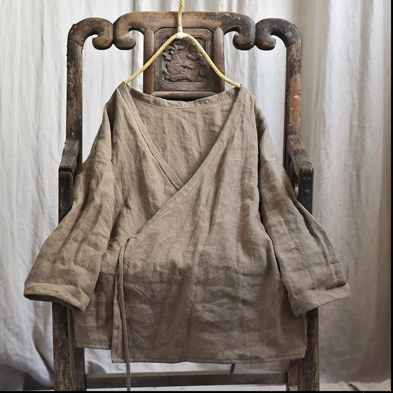 Sonbahar Bahar Pamuk Keten Kadın Bluzlar Orijinal Uzun Kollu V Boyun Katı Renk Vintage Ceket Gevşek Tops