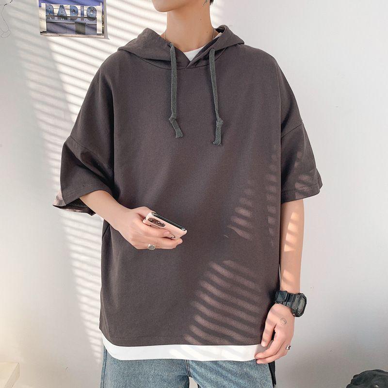 2021 Gran color sólido suéter Spring Summer Student Student Pareja Deportes de manga corta Carta Fake Dos camisetas para Men9QFM