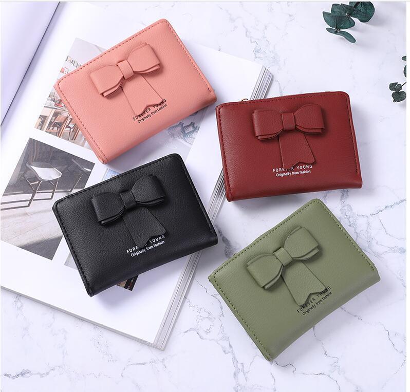 محفظة المرأة الصغيرة BOWKNOT بو الجلود سستة النقدية عملة تغيير محفظة مع مفتاح سلسلة الائتمانية حامل للبنات