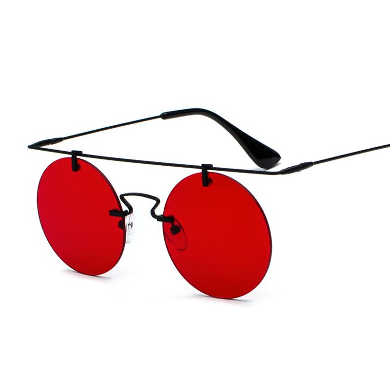 Retro clásico redondo Steampunk Gafas de sol Hombres y mujeres Diseñador de marca Rimless Fashion Globos Top Calidad UV400