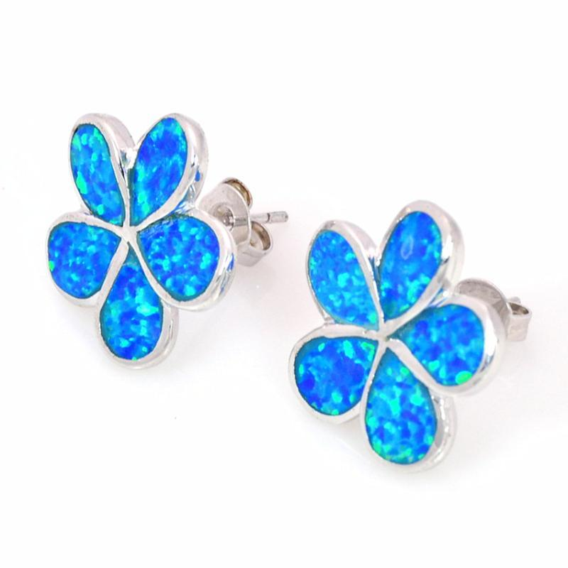 Großhandel Einzelhandel Mode Fine Blaue Feuer Opal Ohrringe mit 925er Sterling Splitter Schmuck EF1701324 Baumeln Kronleuchter