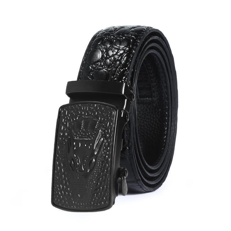 Cinturones para hombres Cinturón de alta calidad Correa de cuero genuino negro de lujo Hebilla automática de lujo Brand Jeans