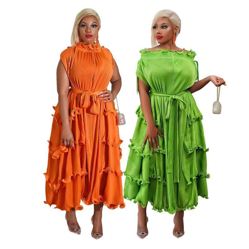 الملابس العرقية فساتين الأفريقية للنساء الخريف قصيرة الأكمام البرتقال الأخضر البوليستر اللباس الملابس