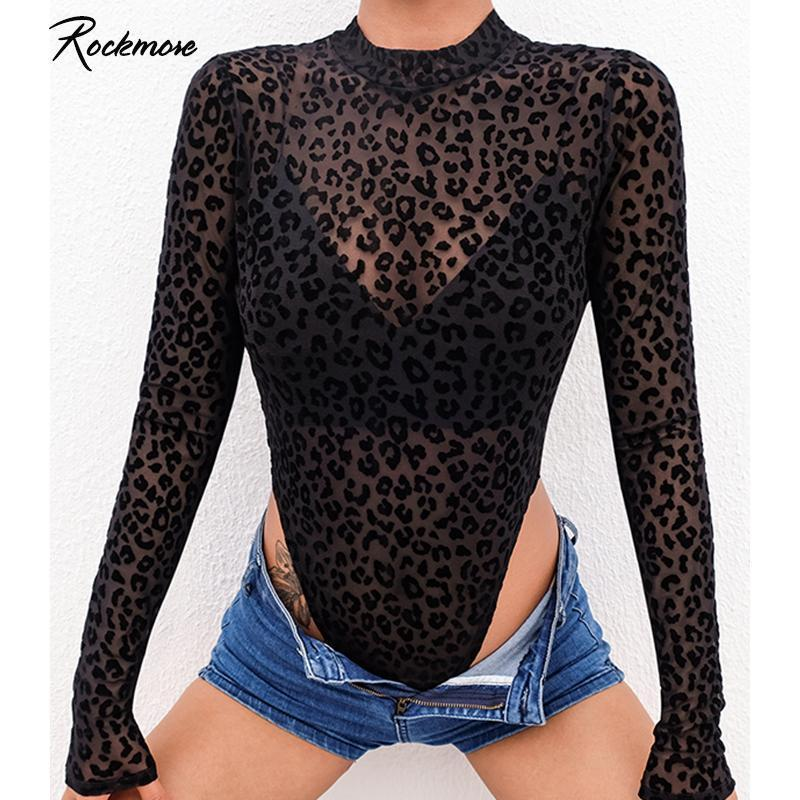 Rockmore Leopard stampato Transparent Sexy Bodysuits Donne Manica lunga Autunno Body Autunno Autunno Corea Gothic Femme Playsuit Caduta