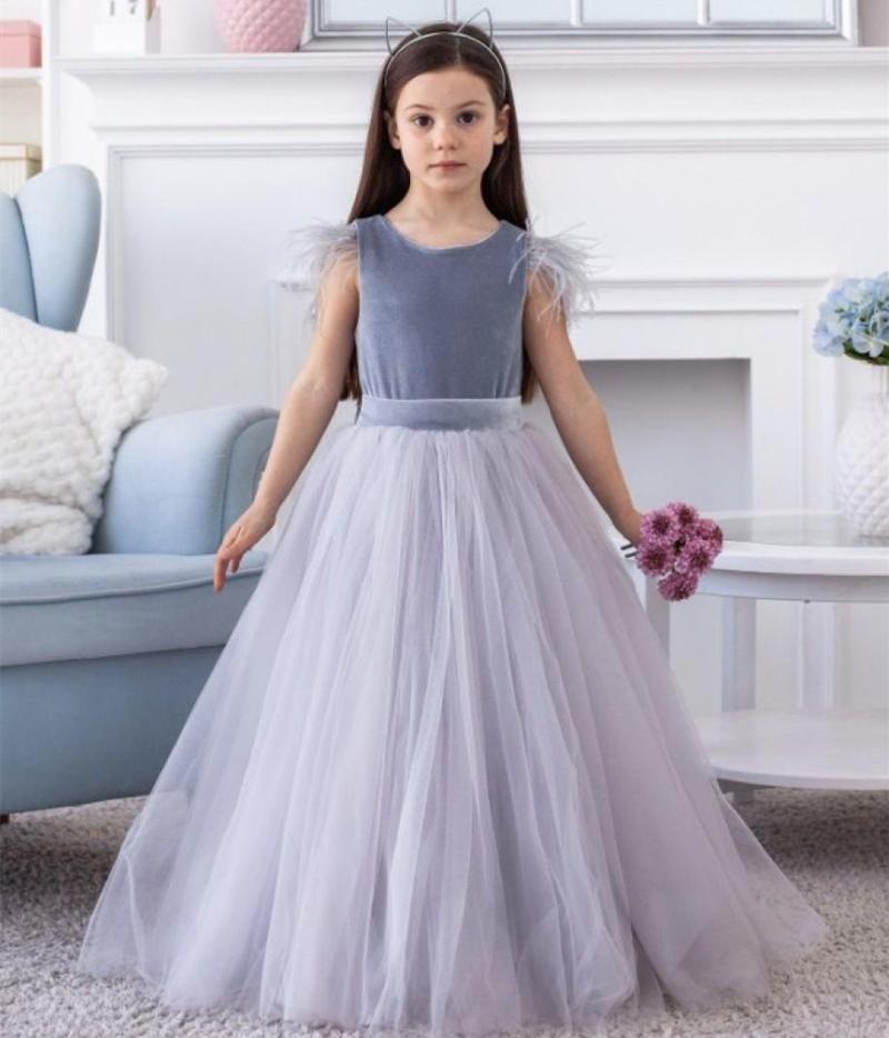 Vestidos de niña Flor niña Capas de tul hinchado bebé Primera comunión vestido alto-bajo de respaldo infantil caminos de novia