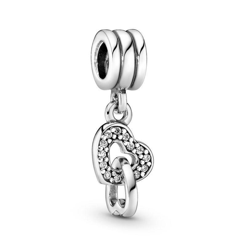2021 New 925 Стерлинговое серебро Удачи Удачи Подкова ангел крыло Луна Семейное дерево болтаться бисером подходят оригинальные Pandora Charm браслет 1263 Q2
