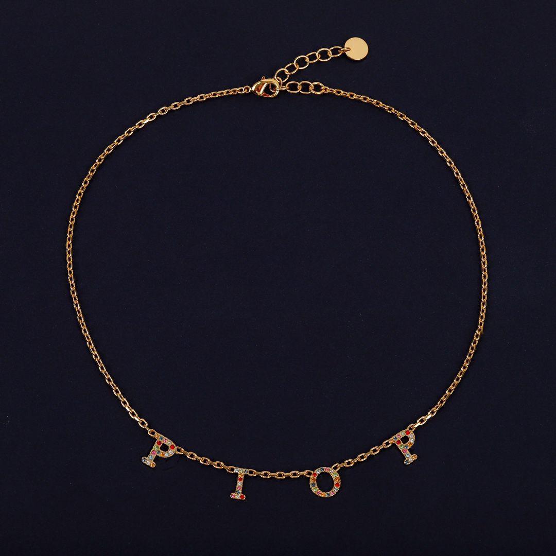 Collar de gargantilla de letra inicial de moda Bijoux Cuban Link Iced Out Colgante Collar para la fiesta para mujer Amantes de la boda Joyería de regalo con caja