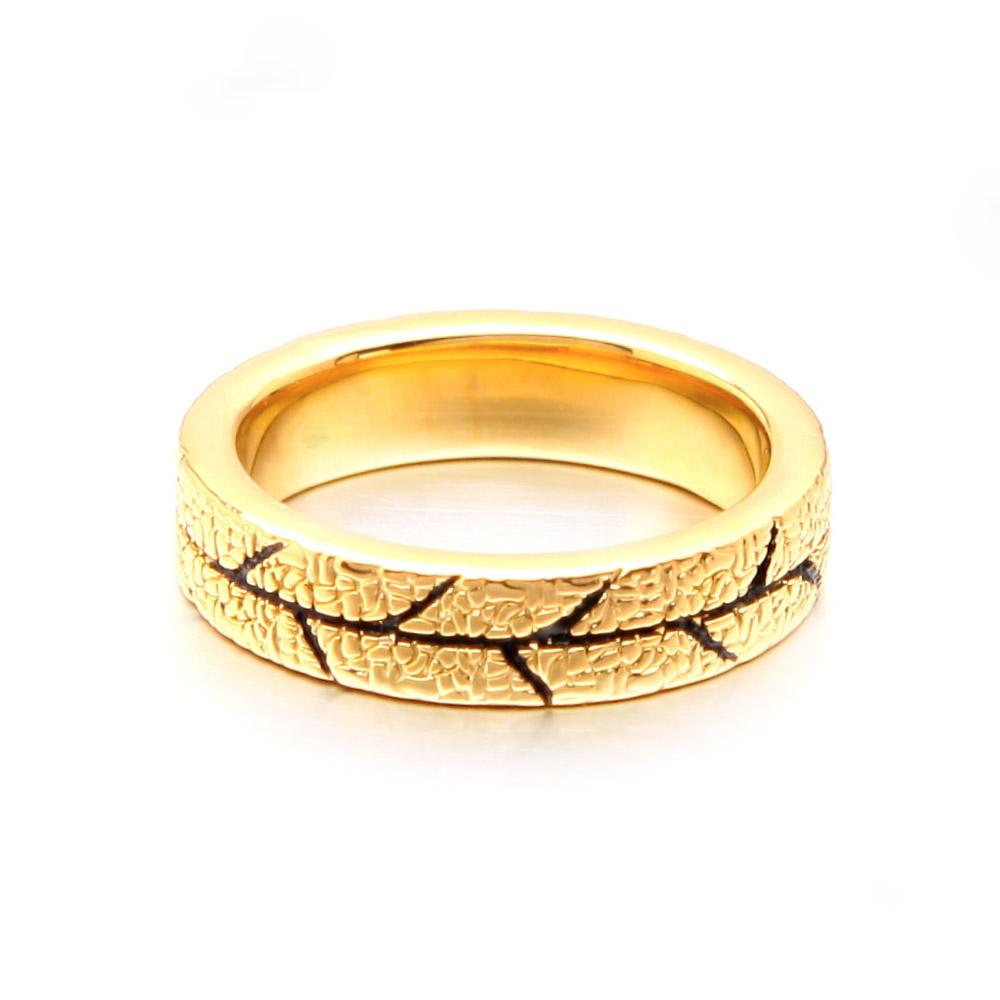 VAROLE Leaf Texture Rings For Women Gold Color Basic Minimalist Finger Ring Fashion Jewelry Anillos Mujer