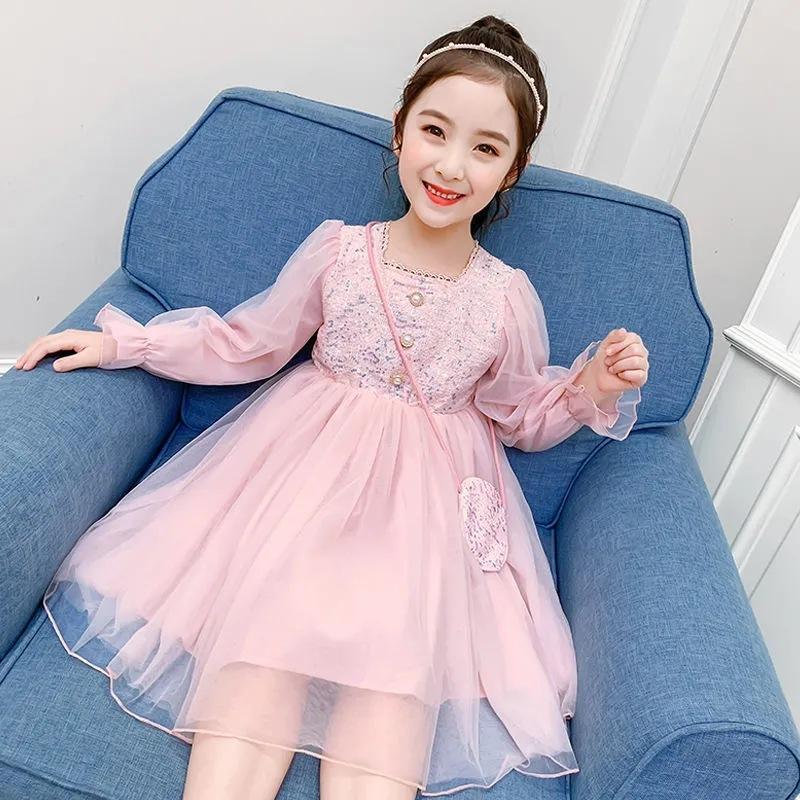 A 9 años primavera verano estilo malla manga larga bola bola azul rosa princesa vestido femenino niño niña vestidos