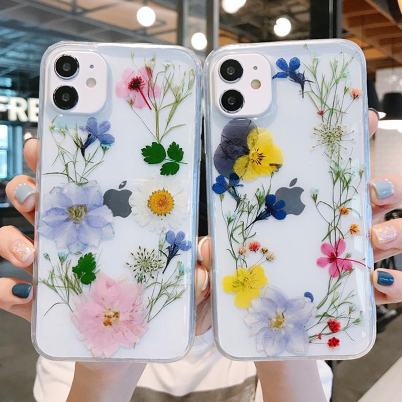Custodie per il telefono floreale secco colorato per iPhone 11 12 Pro Max XS XR SE 7 8 PLUS PLUS Cellulare copertura protettiva Untra-sottile copertura trasparente
