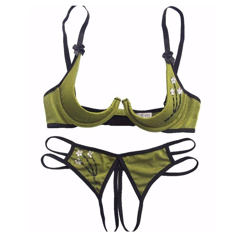 Frauen Intimes 2021 Unterwäsche Open BH Set Appliques Bow Sexy Dessous Spitze Transparent und Panty 210423