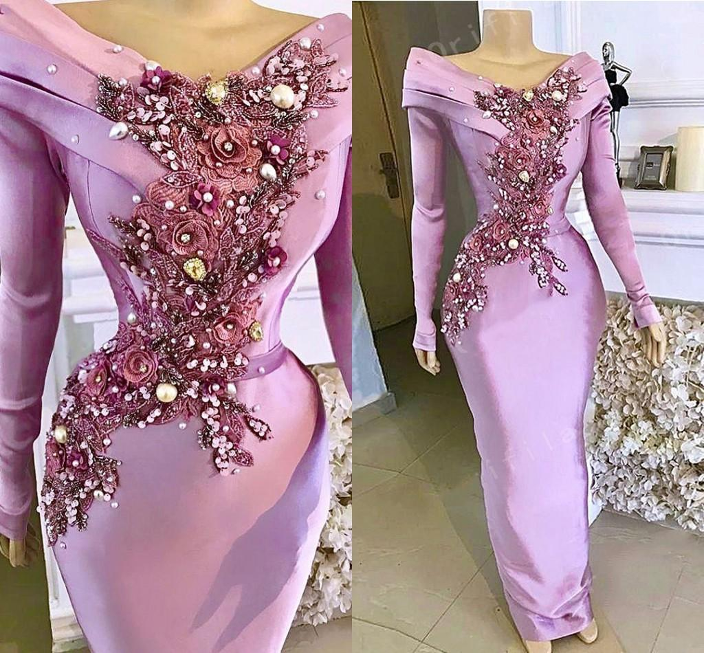Desinger 가벼운 보라색 라벤더 인어 이브닝 드레스 2021 긴 소매 새틴 꽃 레이스 아소 에비 댄스 파티 드레스 공식 착용