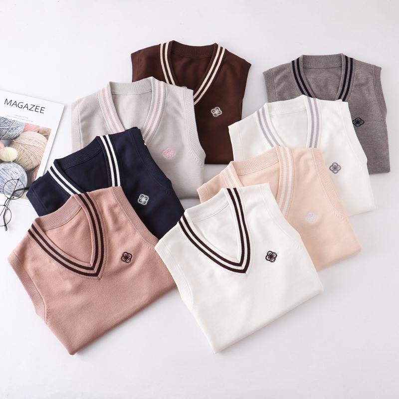 [Bing Nai] 8 색 봄 가을 니트 조끼 귀여운 자수 풀오버 v 목 스웨터 JK 학교 유니폼 학생 의류 세트