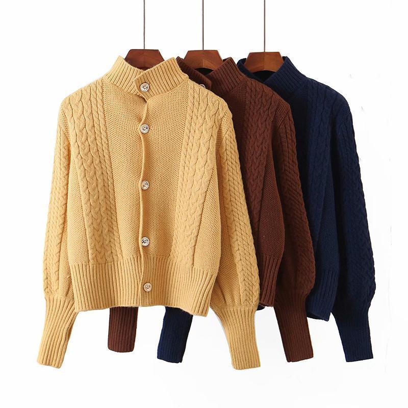 여성 가을 3 색 따뜻한 터틀넥 니트 스웨터 슬림 카디건 겉옷 싱글 브레스트 가을 부드러운 여성 니트 티셔츠