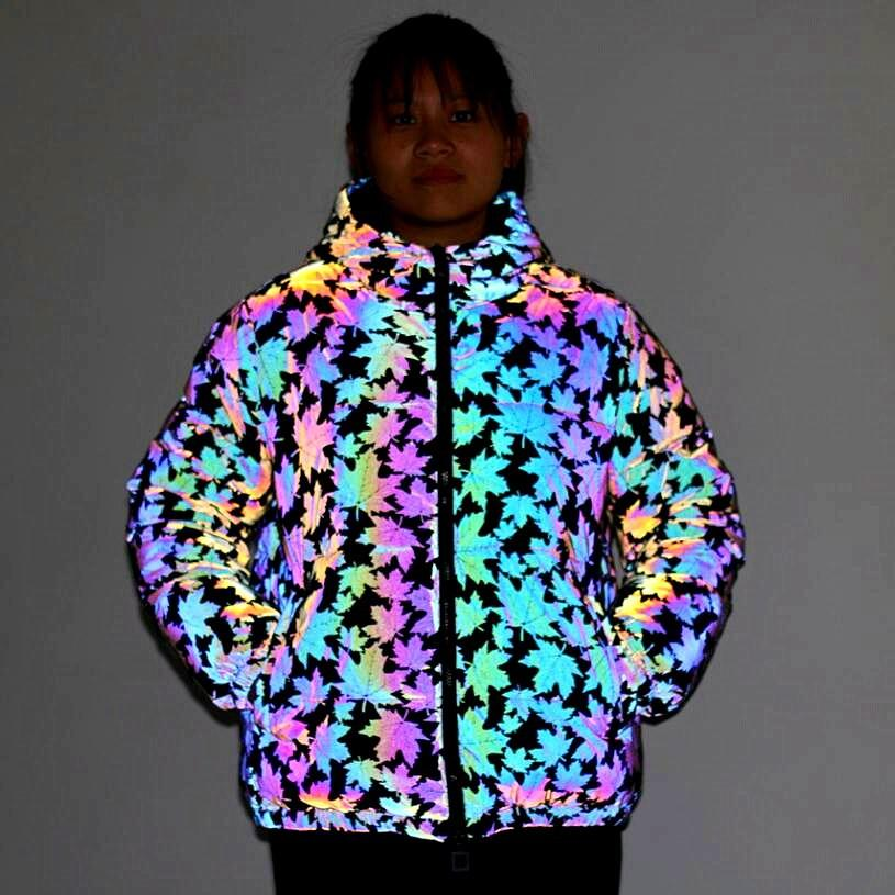 Colorful reflective cotton puffer Down Parkas jacket bubble coat Special women Drawstring Maple leaf pattern fall Zipper jackets Plus sizes Cropped