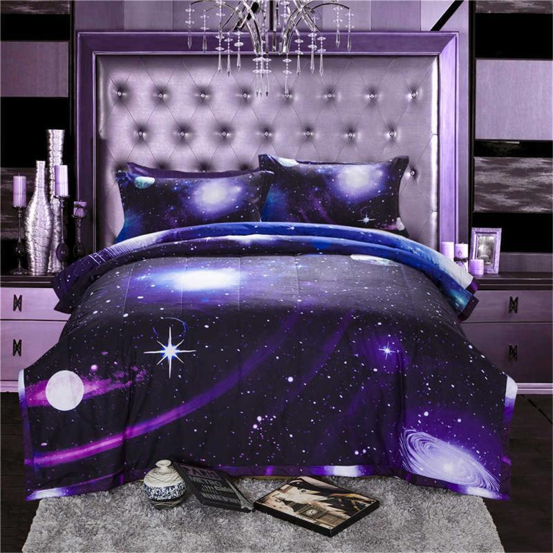 Bettdecken Sets 3D Galaxie Raum Sterne Winter Warme Steppdecke Haut Freund Weiche Steppdecke Bettdecke Kissenbezug Einfache nordische Erwachsene Bett